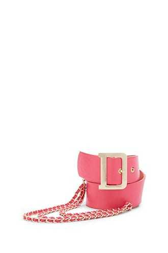 Forever 21 Buckled & Chained Waist Belt  Hot Pink - GOOFASH