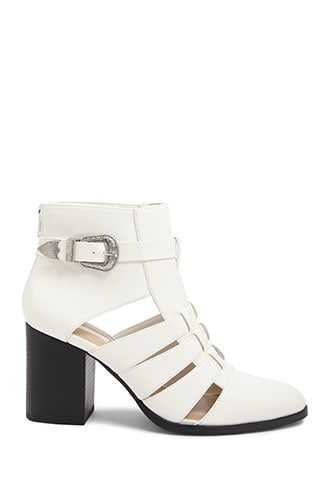Forever 21 Buckled Cutout Booties  White - GOOFASH