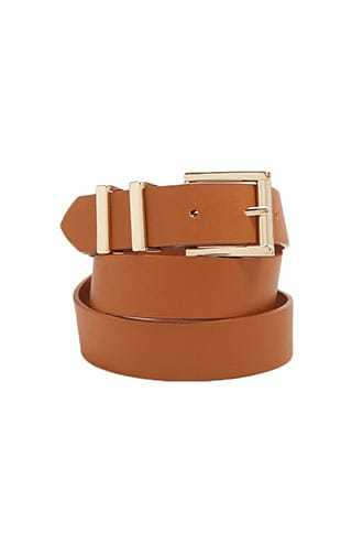 Forever 21 Buckled Faux Leather Hip Belt  Tan - GOOFASH