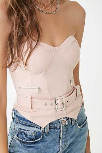 Forever 21 Bustier-Inspired Cropped Tube Top Light Rose - GOOFASH