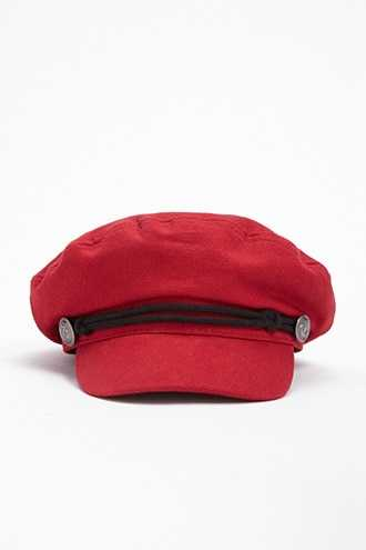 Forever 21 Button Canvas Cabby Hat  Red - GOOFASH