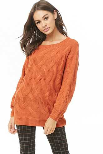 Forever 21 Cable Knit Sweater  Rust - GOOFASH