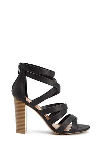 Forever 21 Caged Stacked Heels  Black - GOOFASH