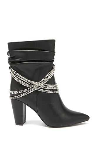 Forever 21 Chain-Accent Slouchy Booties Black - GOOFASH