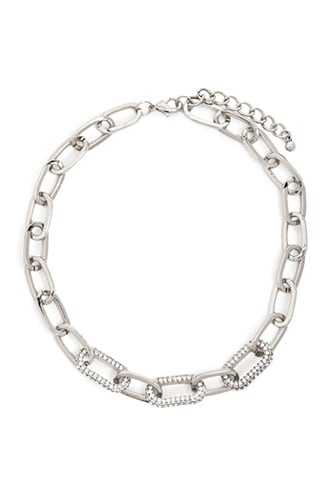 Forever 21 Chain-Link Rhinestone Necklace  Silver/clear - GOOFASH