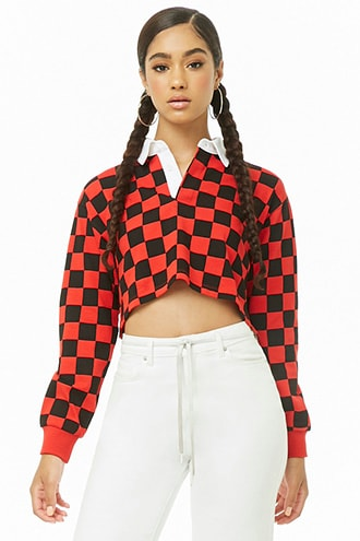 Forever 21 Checkered Long Sleeve Polo Shirt  Red/black - GOOFASH