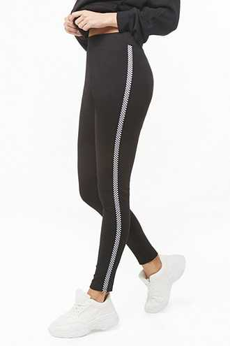 Forever 21 Checkered Striped Leggings Black/white - GOOFASH