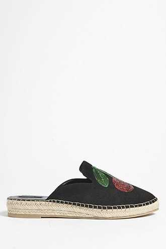 Forever 21 Cherry Faux Suede Espadrille Mules  Black - GOOFASH