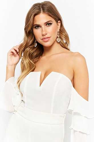 Forever 21 Chiffon Accordion Pleat-Sleeve Off-the-Shoulder Top  White - GOOFASH