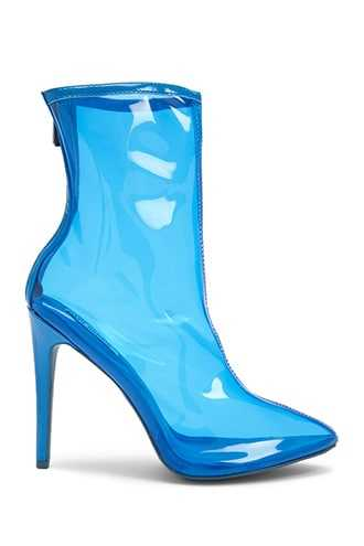 Forever 21 Clear Pointed Toe Booties  Blue - GOOFASH