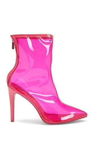 Forever 21 Clear Pointed Toe Booties Pink - GOOFASH