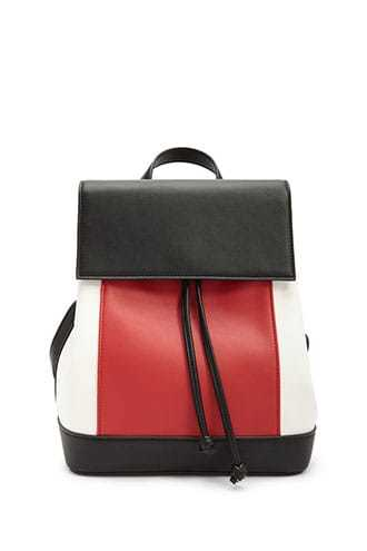 Forever 21 Colorblock Faux Leather Backpack  Red/multi - GOOFASH