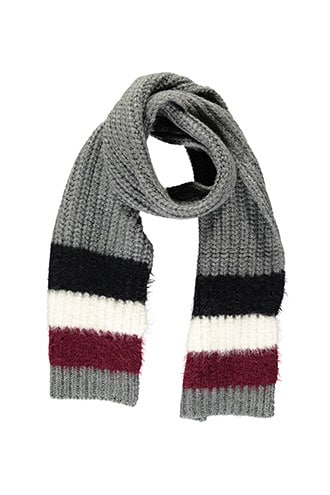 Forever 21 Colorblock Oblong Scarf Grey/multi - GOOFASH