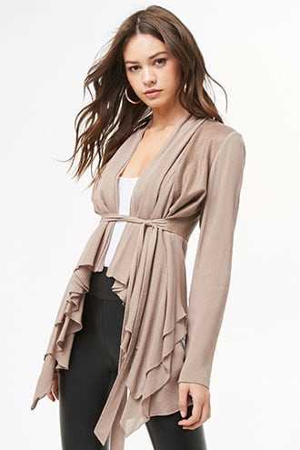 Forever 21 Combo Flounce Cardigan  Taupe - GOOFASH