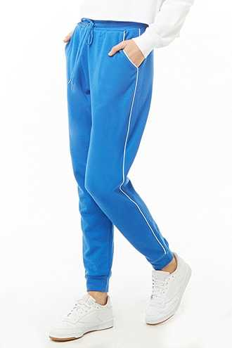 Forever 21 Contrast Piped-Trim Joggers  Blue/ivory - GOOFASH