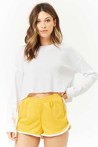 Forever 21 Contrast-Trim Mesh Dolphin Shorts  Gold/white - GOOFASH