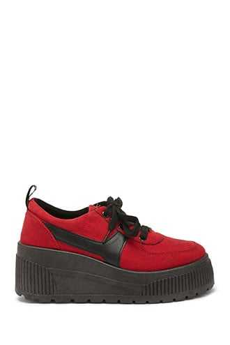 Forever 21 Coolway Faux Suede Low Top Sneakers  Red - GOOFASH