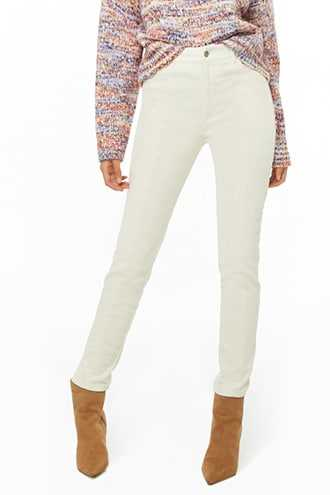 Forever 21 Corduroy Ankle Pants  Cream - GOOFASH