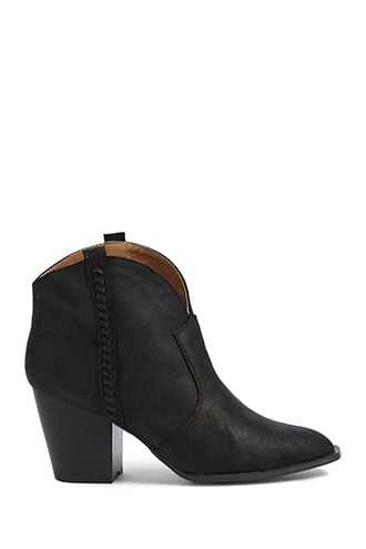 Forever 21 Cracked Faux Leather Ankle Booties  Black - GOOFASH
