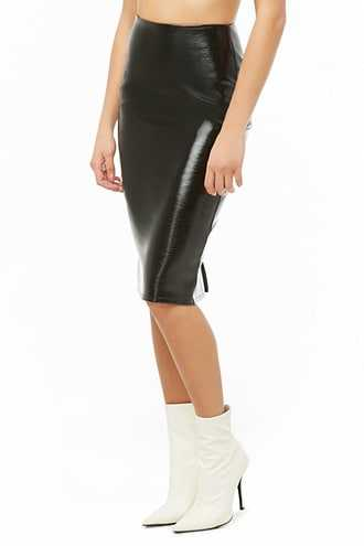 Forever 21 Cracked Faux Leather Pencil Skirt  Black - GOOFASH