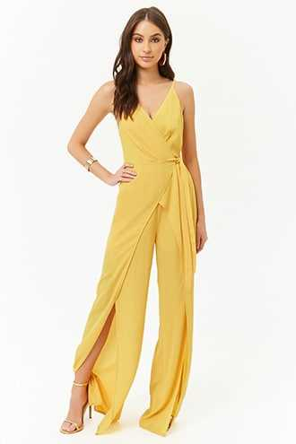 Forever 21 Crepe Wide-Leg Jumpsuit  Yellow - GOOFASH