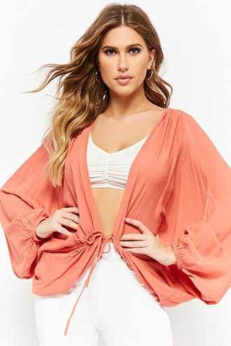 Forever 21 Crinkled Balloon-Sleeve Cardigan  Coral - GOOFASH