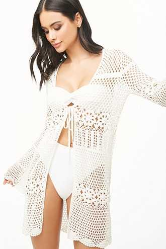 Forever 21 Crochet-Knit Swim Cover-Up  Ivory - GOOFASH