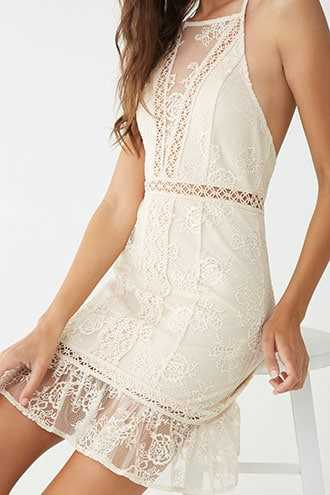 Forever 21 Crochet Lace Mini Dress Nude - GOOFASH