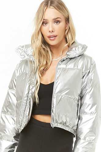 Forever 21 Cropped Puffer Jacket  Silver - GOOFASH