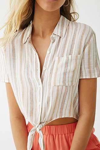 Forever 21 Cropped Striped Tie-Hem Shirt Cream/multi - GOOFASH