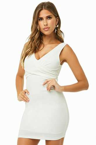 Forever 21 Cross-Front Mini Dress  Ivory - GOOFASH