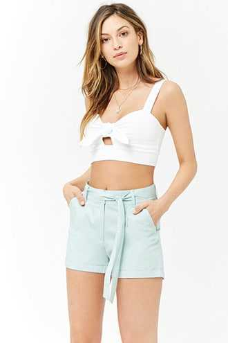 Forever 21 Cuffed Cotton Shorts  Mint - GOOFASH