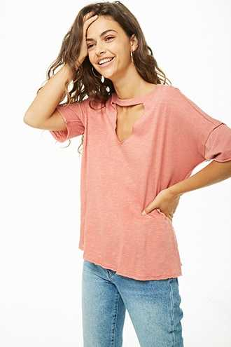 Forever 21 Cutout Burnout Tee Rose - GOOFASH