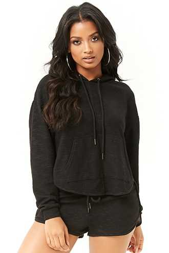 Forever 21 Cutout Layered-Back Hoodie  Black - GOOFASH