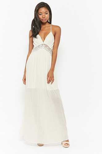 Forever 21 Cutout Maxi Dress Ivory - GOOFASH