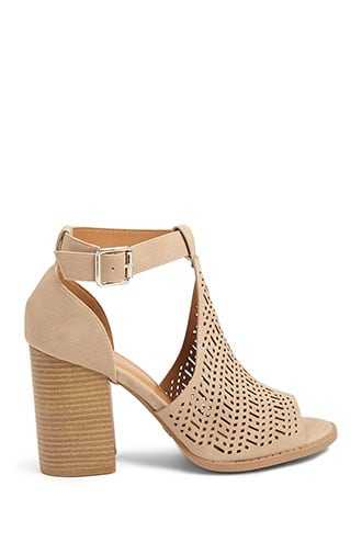 Forever 21 Cutout Open Toe Booties Taupe - GOOFASH