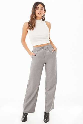 Forever 21 D-Ring Belted High-Waist Pants  Heather Grey - GOOFASH