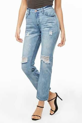 Forever 21 Distressed Ankle Jeans  Blue - GOOFASH