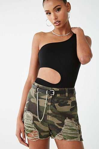 Forever 21 Distressed Camo Shorts  Olive/brown - GOOFASH