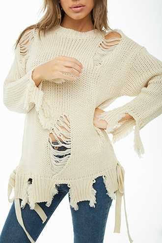 Forever 21 Distressed Knit Sweater  Cream - GOOFASH