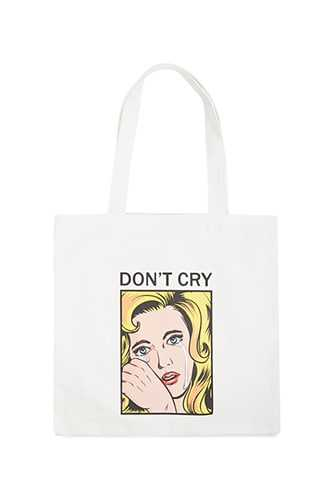 Forever 21 Dont Cry Graphic Eco Tote Bag  White/multi - GOOFASH