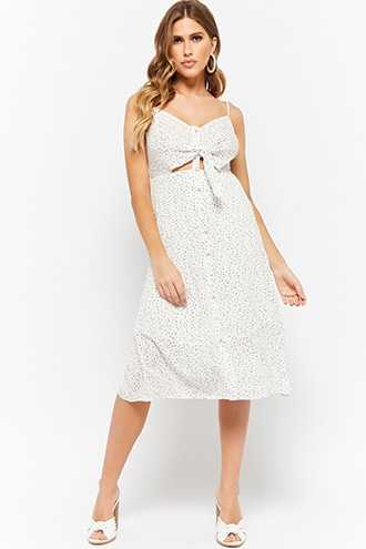 Forever 21 Dot Print Cami Homecoming Dress  Ivory - GOOFASH