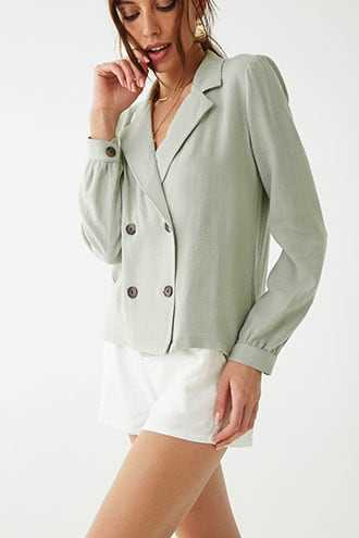 Forever 21 Double-Breasted Blazer Sage - GOOFASH