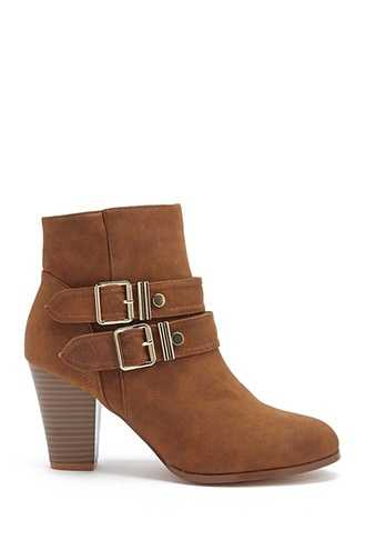 Forever 21 Double Buckle-Strap Faux Leather Booties  Brown - GOOFASH