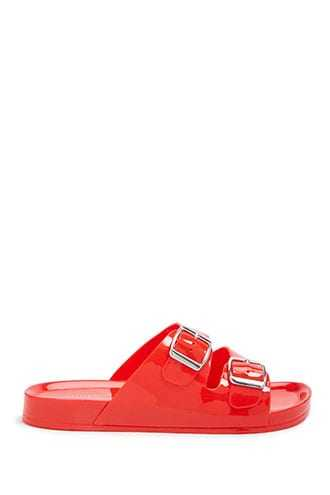 Forever 21 Double-Strap Jelly Slides  Red - GOOFASH