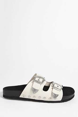 Forever 21 Double-Strap Sandals Ivory - GOOFASH