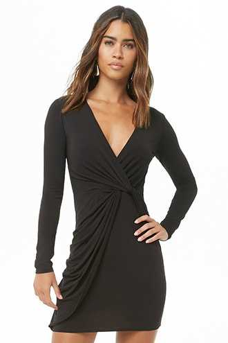 Forever 21 Drape Twisted Mini Dress  Black - GOOFASH