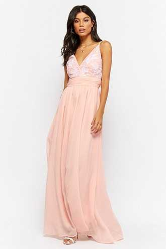 Forever 21 Embroidered Chiffon Prom Gown  Blush - GOOFASH