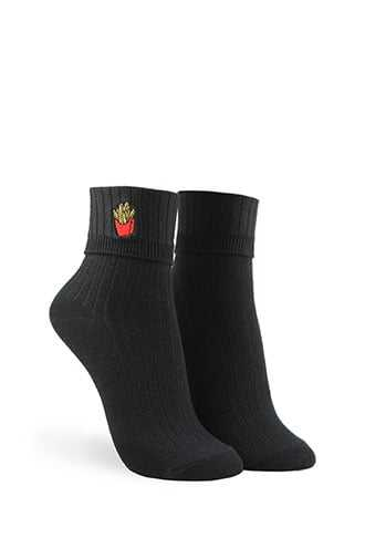 Forever 21 Embroidered French Fry Crew Socks  Black/multi - GOOFASH