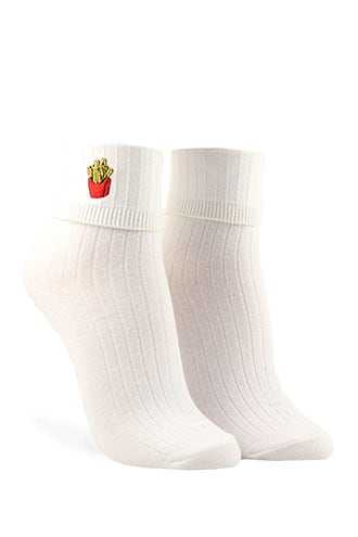 Forever 21 Embroidered French Fry Crew Socks  White/multi - GOOFASH
